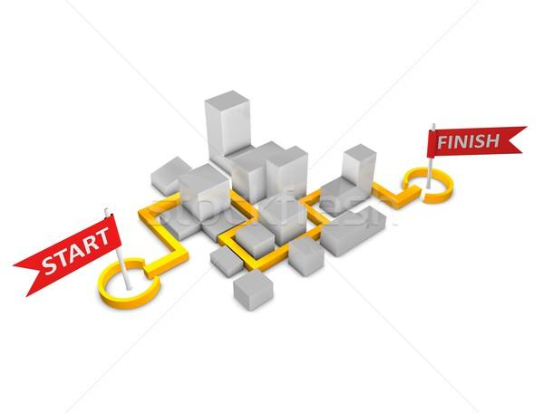 マラソン 3D レンダリング 実例 方向 地図 ストックフォト © OneO2