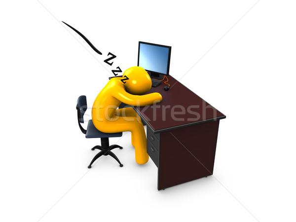 Uyku 3D görüntü ofis işçi uyku Stok fotoğraf © OneO2