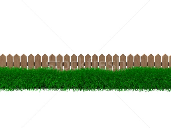 çit çim 3D ahşap dekore edilmiş Stok fotoğraf © OneO2