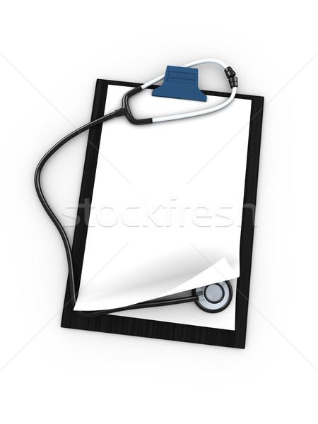 Presse-papiers stéthoscope 3D isolé blanche fond Photo stock © OneO2