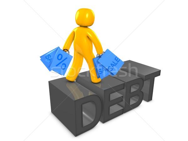 долг 3D изображение деньги торговых Финансы Сток-фото © OneO2