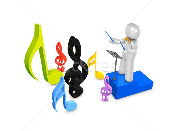 Orquestra 3D imagem professor gráfico líder Foto stock © OneO2