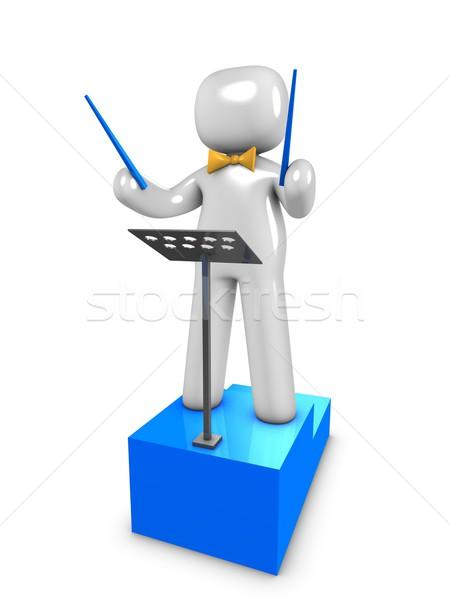 Orkestra lider 3D görüntü öğretmen grafik Stok fotoğraf © OneO2