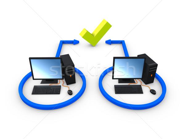 3D afbeelding computer bus desktop verbinding Stockfoto © OneO2