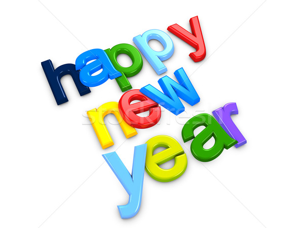 Happy new year 3D image coloré nouvelle année texte Photo stock © OneO2