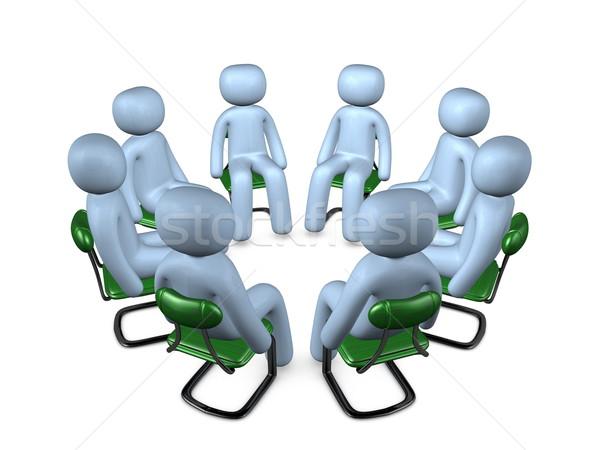 Círculo reunión 3D imagen puerta mesa Foto stock © OneO2