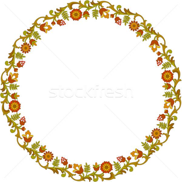 Round floral frame Stock photo © Onyshchenko