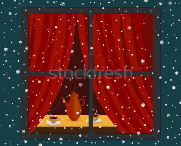 Venster warm kamer sneeuwval sneeuw winter Stockfoto © Onyshchenko
