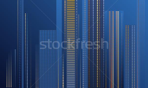 Wolkenkrabbers nacht hoog modern gebouw verlicht Windows Stockfoto © Onyshchenko