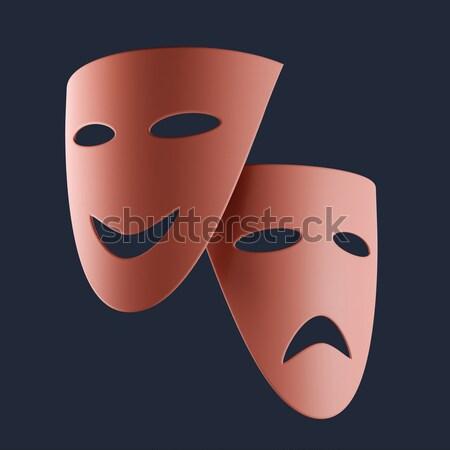 Tragisch komische maskers geïsoleerd zwarte 3d illustration Stockfoto © Onyshchenko