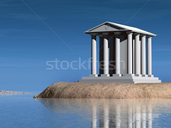 Tempel eiland klein illustratie gebouw Stockfoto © Onyshchenko