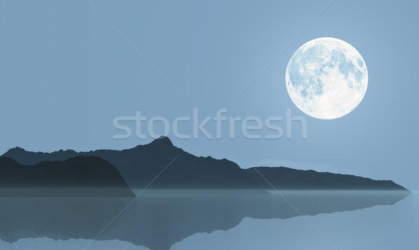 Maan volle maan zee heuvels illustratie Stockfoto © Onyshchenko