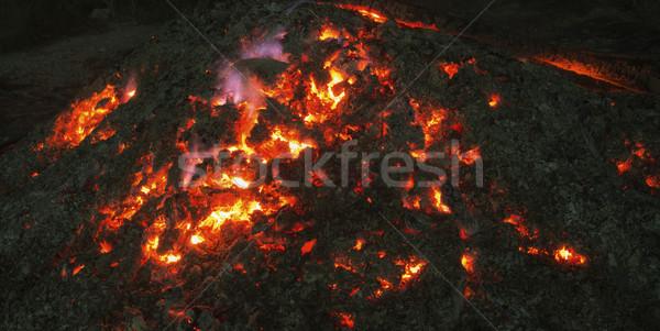 Brand nacht vulkaan gloed brandend Stockfoto © Onyshchenko
