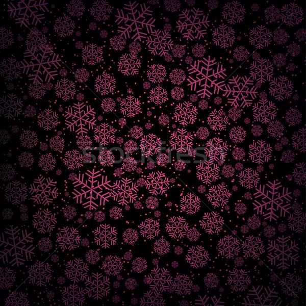 Paars sneeuwval sneeuwvlokken zwarte eps 10 Stockfoto © Onyshchenko