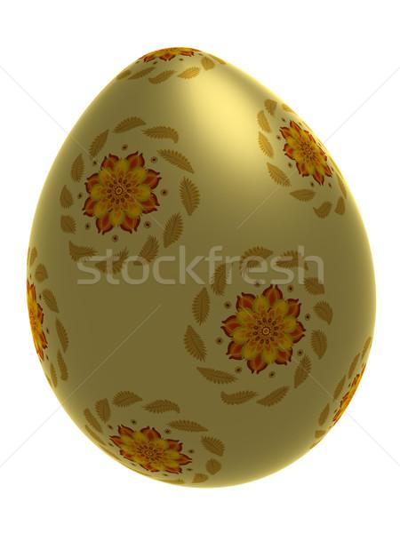 Geïsoleerd decoratief ei Geel ornament Stockfoto © Onyshchenko