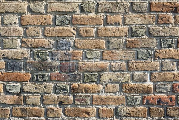 Oude muur muur kasteel veelkleurig bakstenen Stockfoto © Onyshchenko