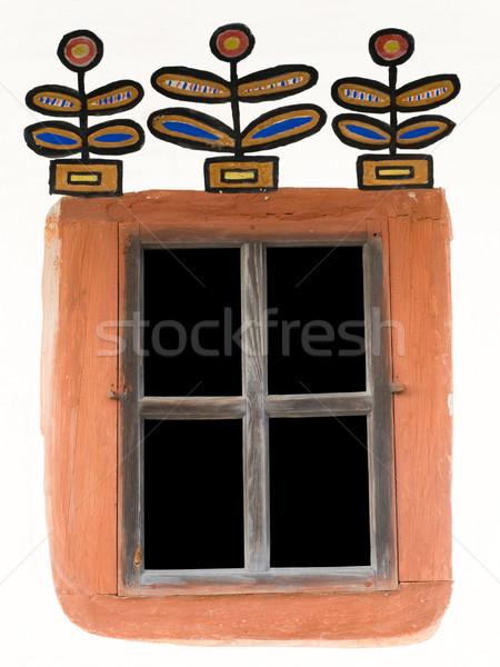 Venster oude land hut muur zwarte Stockfoto © Onyshchenko
