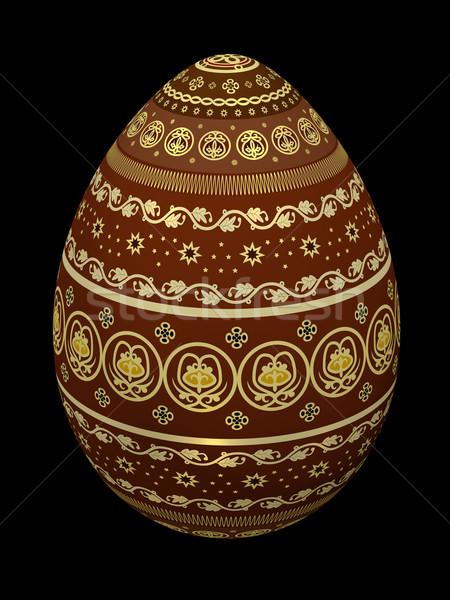 Húsvéti tojás húsvét színes tojás izolált fekete 3d illusztráció Stock fotó © Onyshchenko