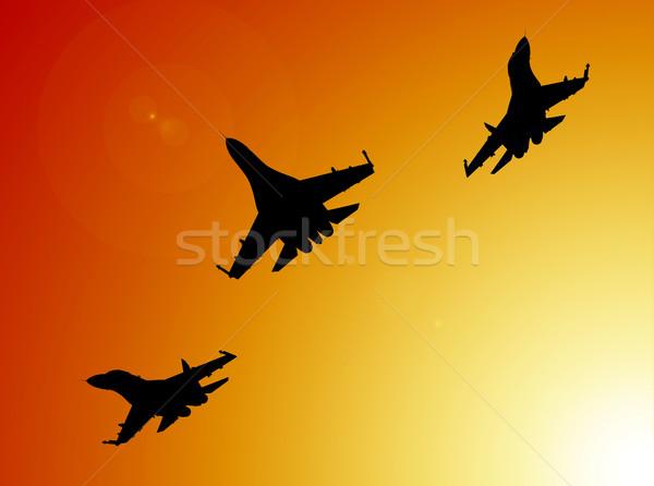 Repülőgép 3d render sziluettek naplemente madár repülőgép Stock fotó © oorka