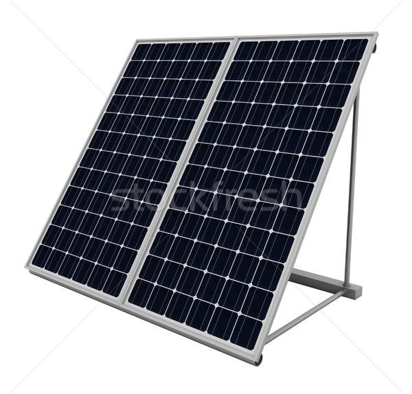Painéis solares isolado branco verde indústria moderno Foto stock © oorka