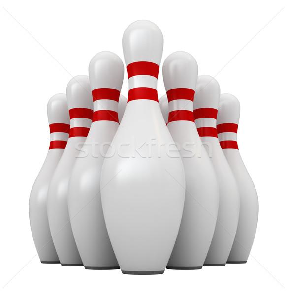 Bowling 3d render izolált fehér sport háttér Stock fotó © oorka