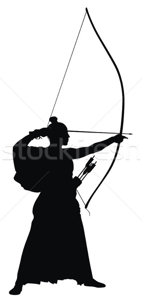 Arciere abstract japanese silhouette sport soldato Foto d'archivio © oorka