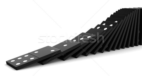 Dominó 3d negro bloques blanco fondo Foto stock © oorka