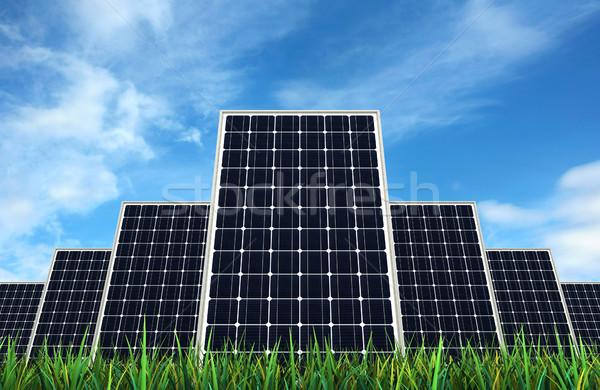 Painéis solares 3d render céu verde elétrico moderno Foto stock © oorka