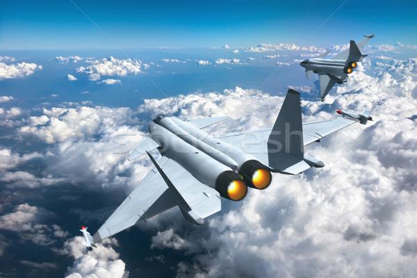 Jet 3d render zwei Himmel Wolken Wolke Stock foto © oorka
