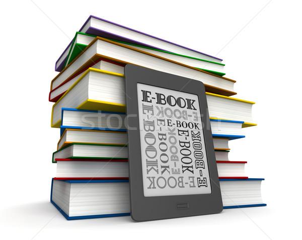 Könyvek ekönyv 3d render olvasó elektronikus könyv Stock fotó © oorka