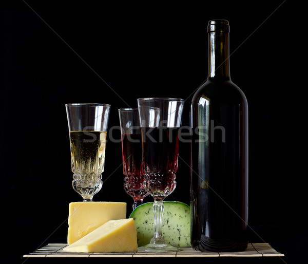 Bottle and glass of red wine Stock photo © oorka