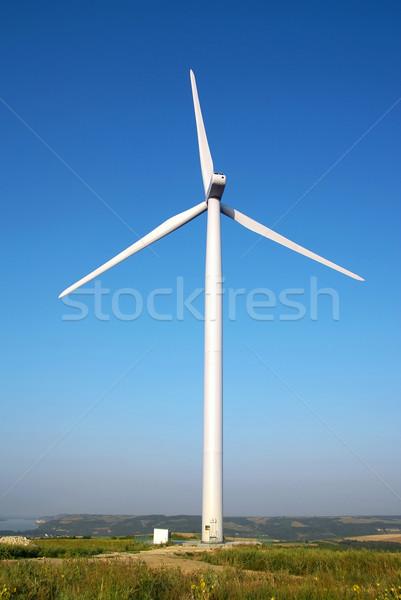 Szélturbina szélfarm zárt Duna folyó kék Stock fotó © oorka