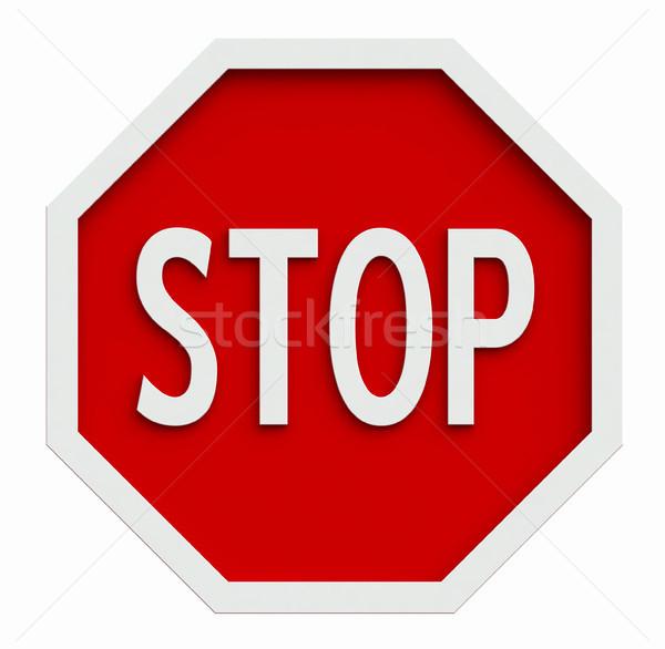 Stopteken 3d render verkeer geïsoleerd witte weg Stockfoto © oorka