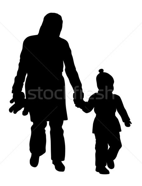 Anya gyermek sétál kezek kéz gyerek Stock fotó © oorka
