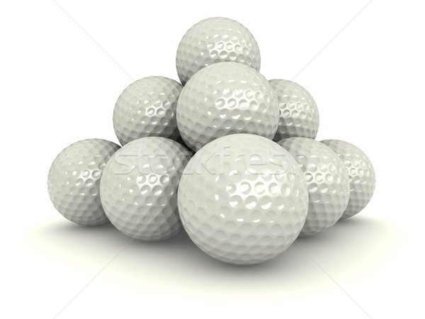 Golf golyók 3d render köteg fehér szabadidő Stock fotó © oorka