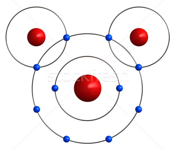 Moleculair structuur water 3d render onderwijs witte Stockfoto © oorka