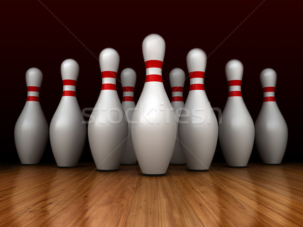 Bowling rendu 3d sport fond broches mouvement Photo stock © oorka