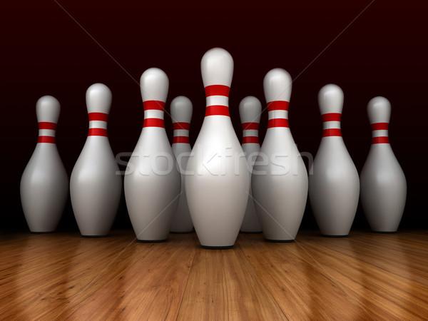 Bowling 3d render spor arka plan pin hareket Stok fotoğraf © oorka