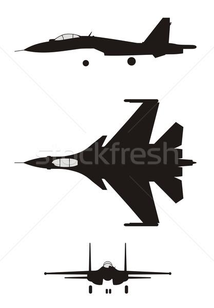 Repülőgép vadászrepülő absztrakt sziluett madár repülőgép Stock fotó © oorka