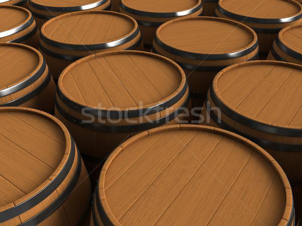 Foto d'archivio: Rendering · 3d · legno · isolato · bianco · legno · birra