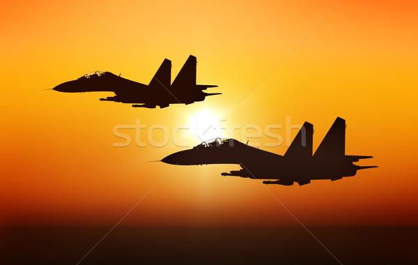 Jet Sonnenuntergang Vogel Flugzeug Flugzeug Flugzeug Stock foto © oorka
