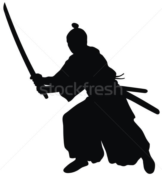 Samurai abstrato arte silhueta espada guerreiro Foto stock © oorka