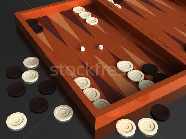 3d render hagyományos játék tábla fa fehér Stock fotó © oorka
