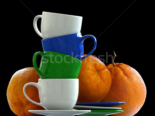 Oranges fruits bleu noir Photo stock © oorka