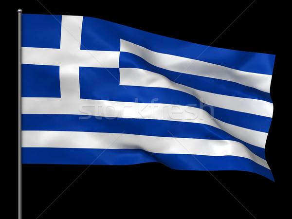 Görög zászló integet izolált fekete háttér Stock fotó © oorka