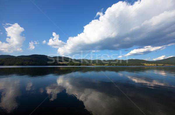 Kilátás hegy Bulgária felhők kék tó Stock fotó © oorka