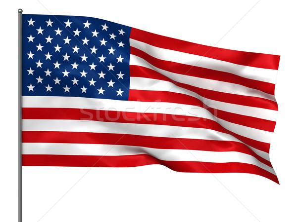 Amerikai zászló integet izolált fehér háttér zászló Stock fotó © oorka