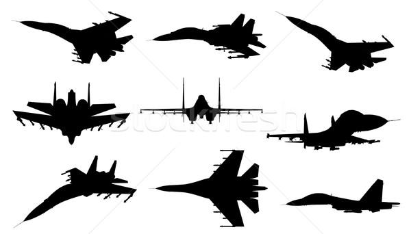 Repülőgép vadászrepülő különböző sziluettek madár háború Stock fotó © oorka