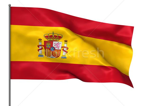 Spaans spaanse vlag geïsoleerd witte achtergrond Stockfoto © oorka