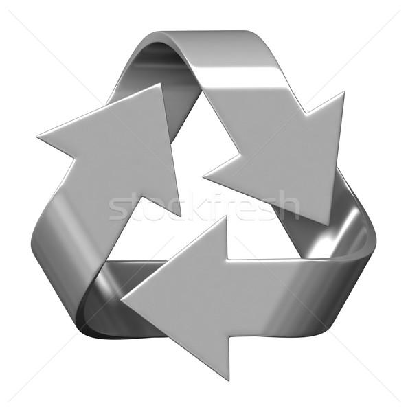 Recycleren symbool 3d render geïsoleerd witte ontwerp Stockfoto © oorka